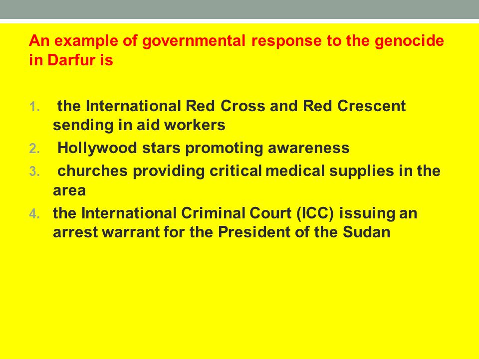 An example of governmental response to the genocide in Darfur is