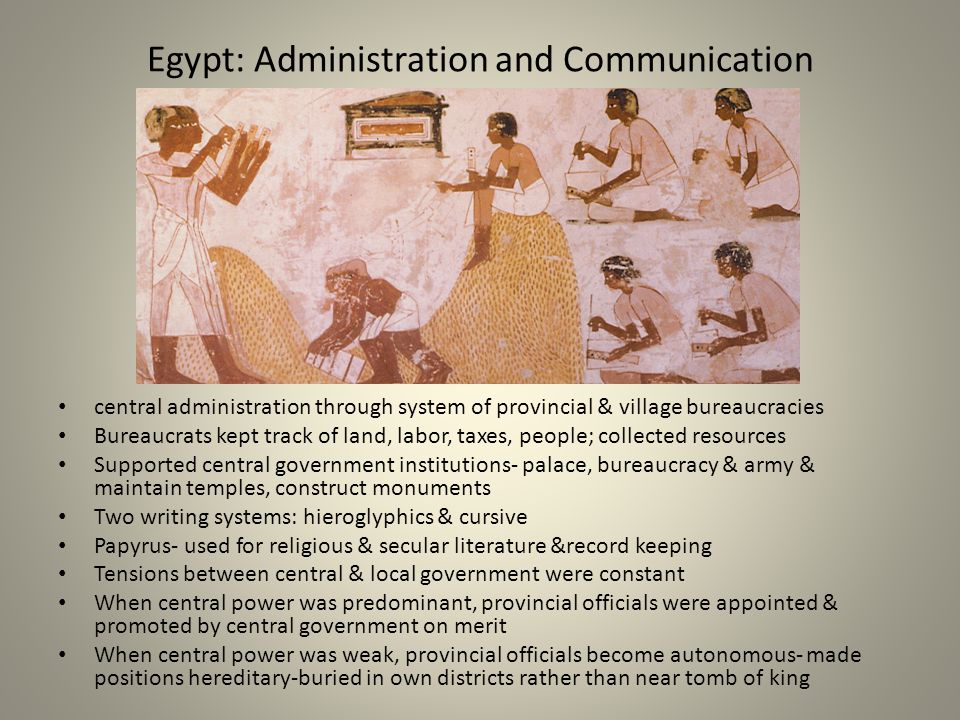 Egypt: Administration and Communication