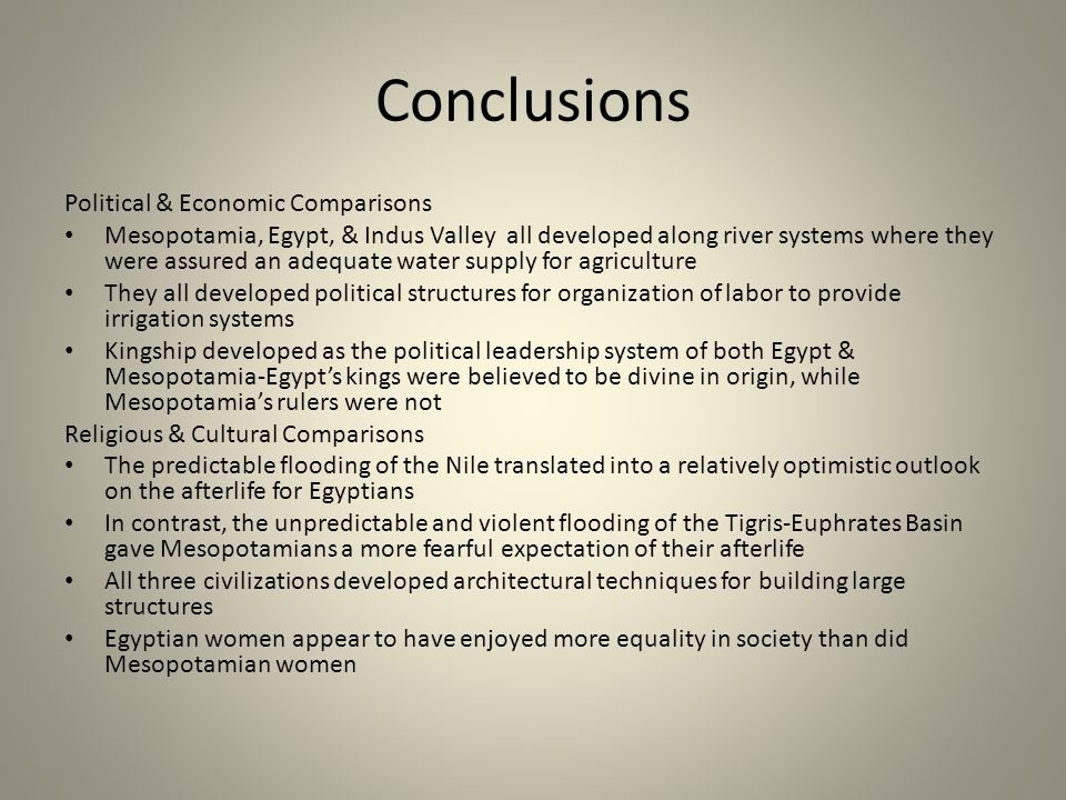 Conclusions Political & Economic Comparisons
