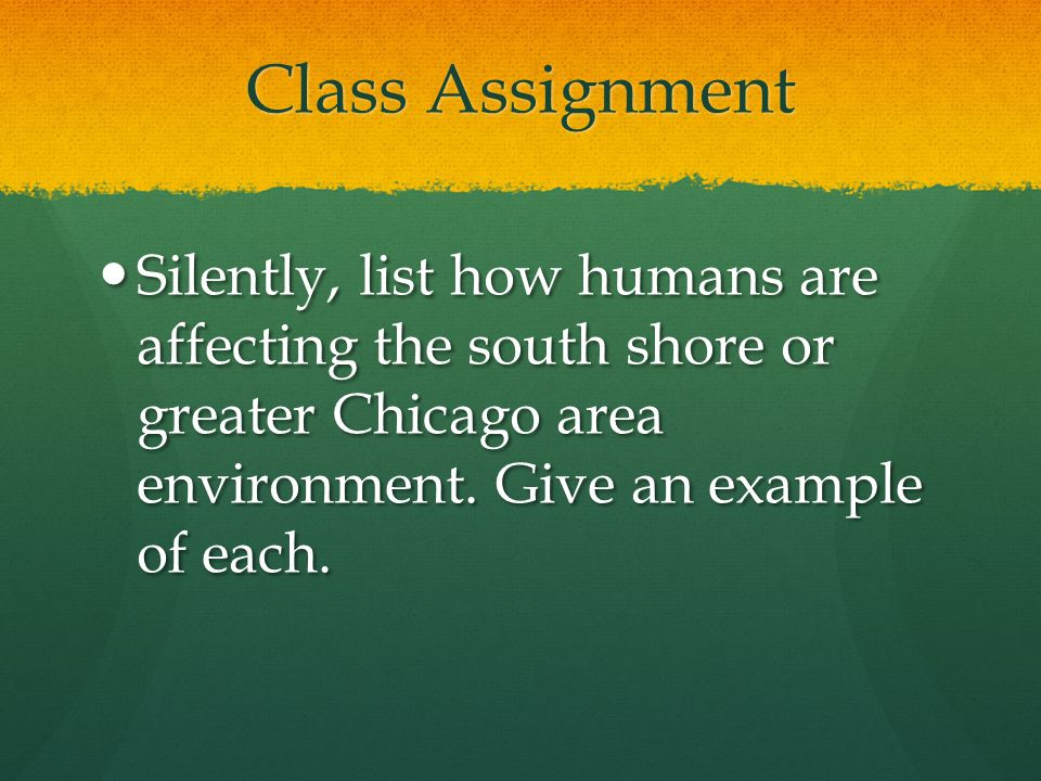 Class Assignment Silently, list how humans are affecting the south shore or greater Chicago area environment.