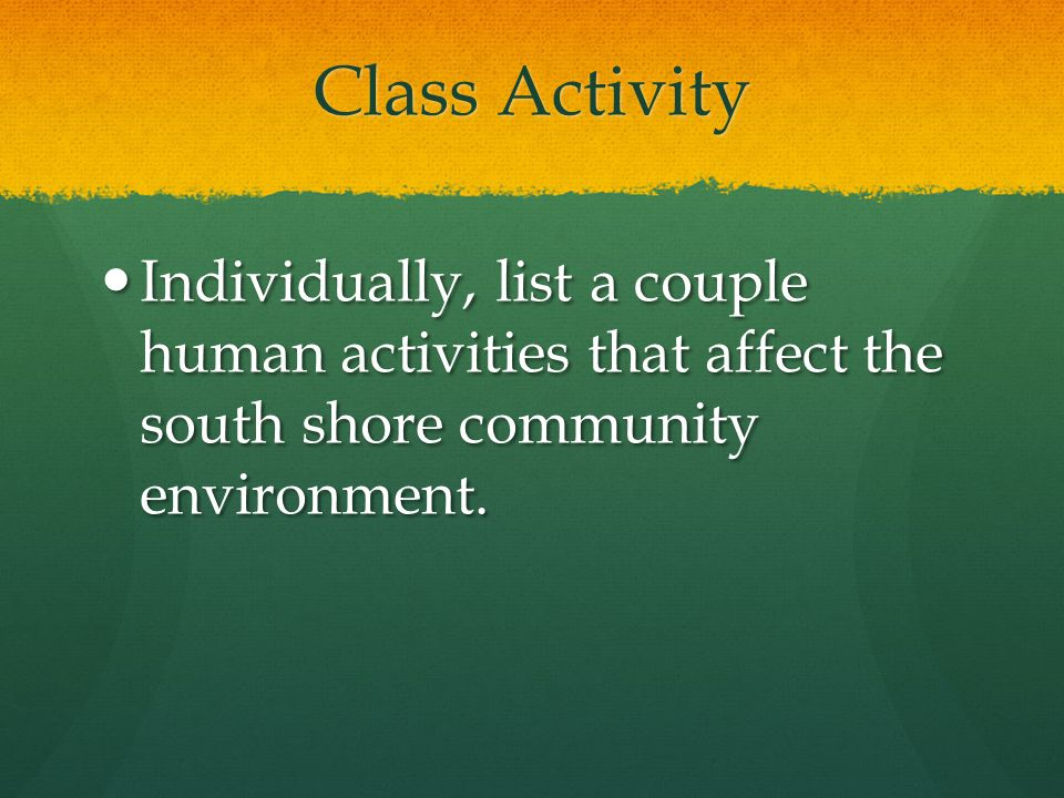 Class Activity Individually, list a couple human activities that affect the south shore community environment.