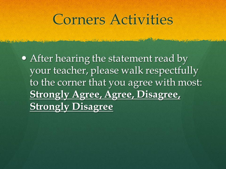 Corners Activities