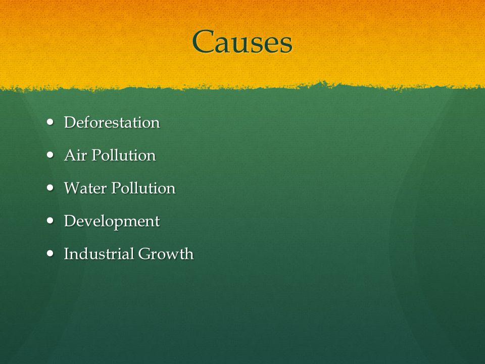 Causes Deforestation Air Pollution Water Pollution Development