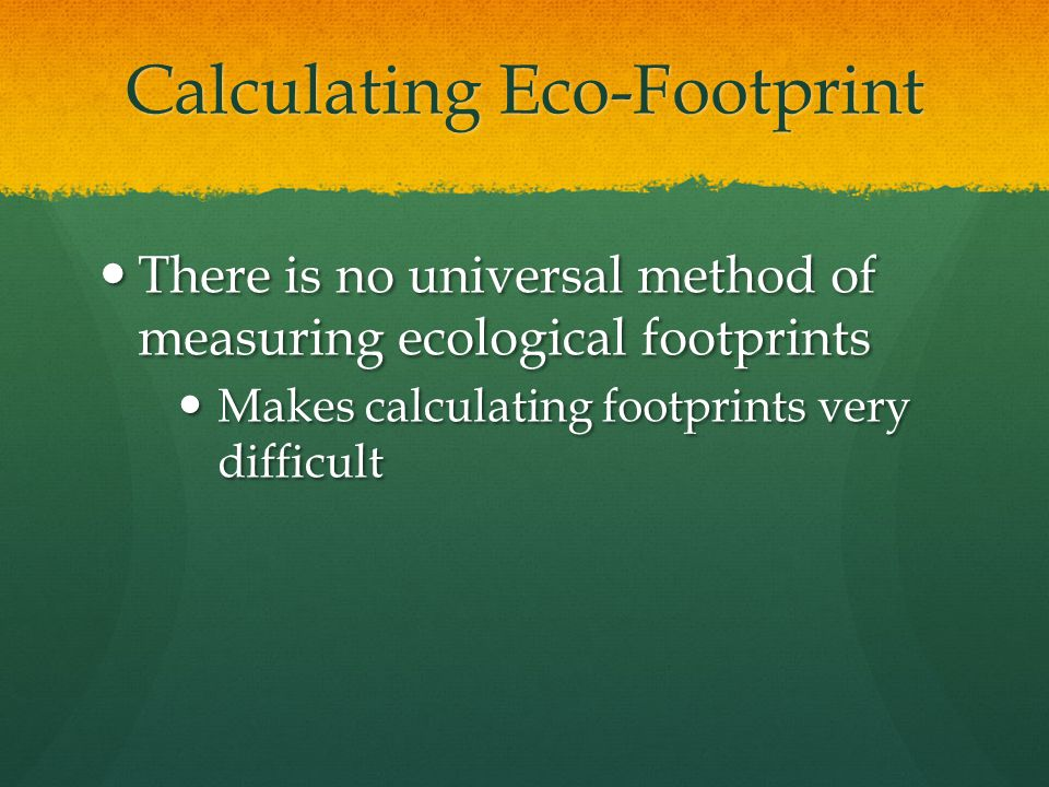 Calculating Eco-Footprint