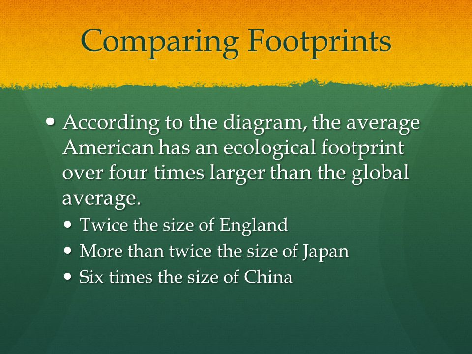 Comparing Footprints According to the diagram, the average American has an ecological footprint over four times larger than the global average.
