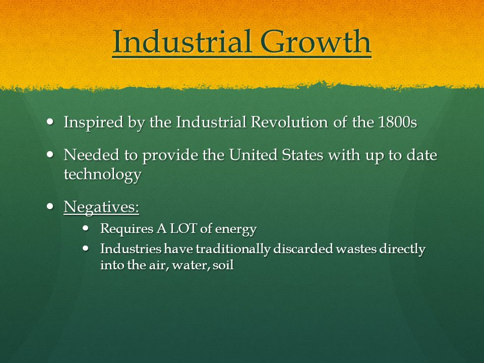Industrial Growth Inspired by the Industrial Revolution of the 1800s