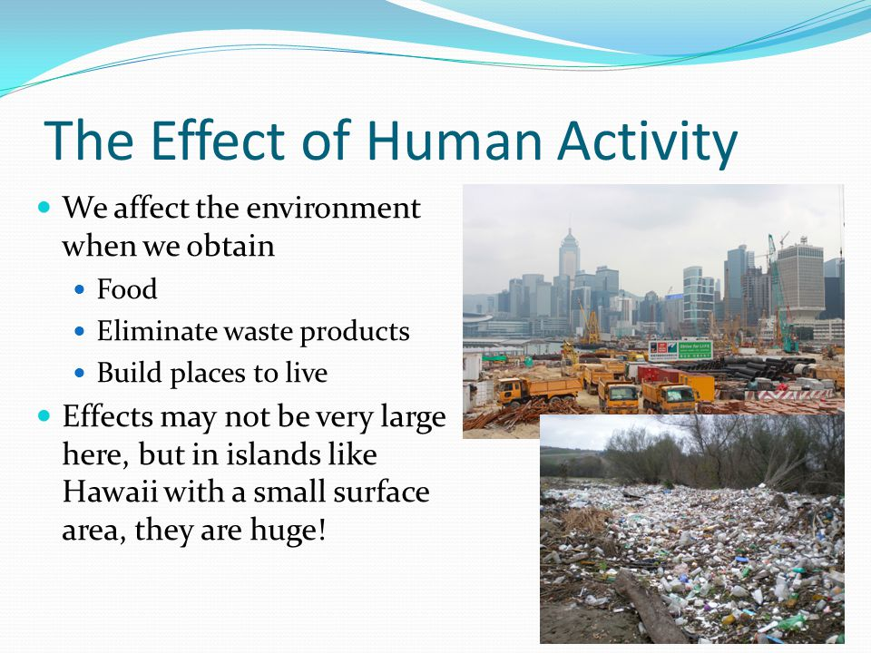 The effects of human activity on the environment