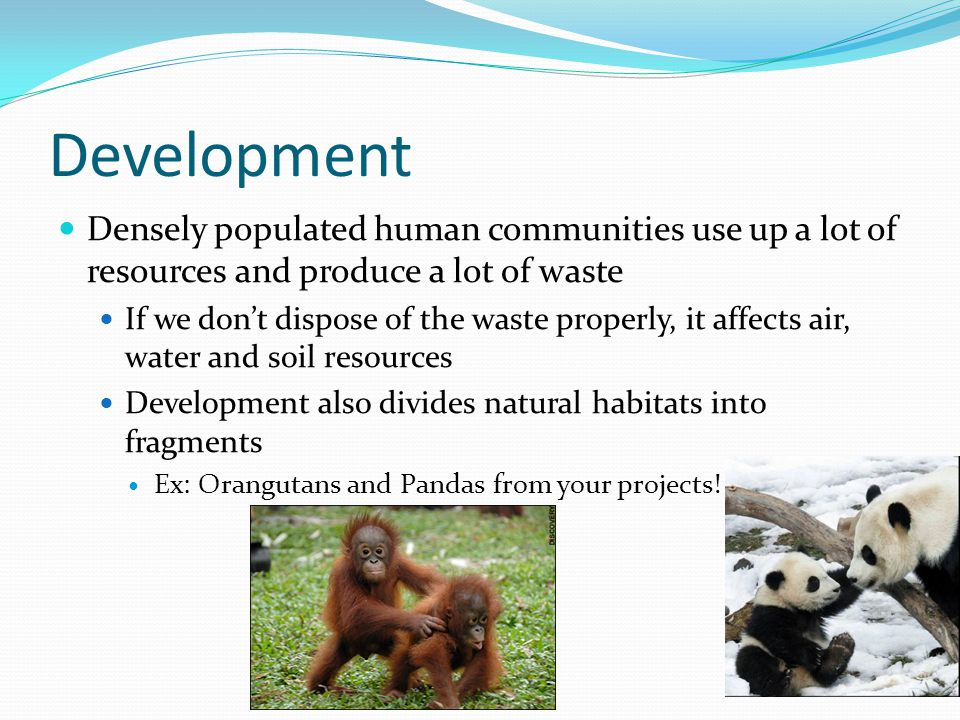 Development Densely populated human communities use up a lot of resources and produce a lot of waste.