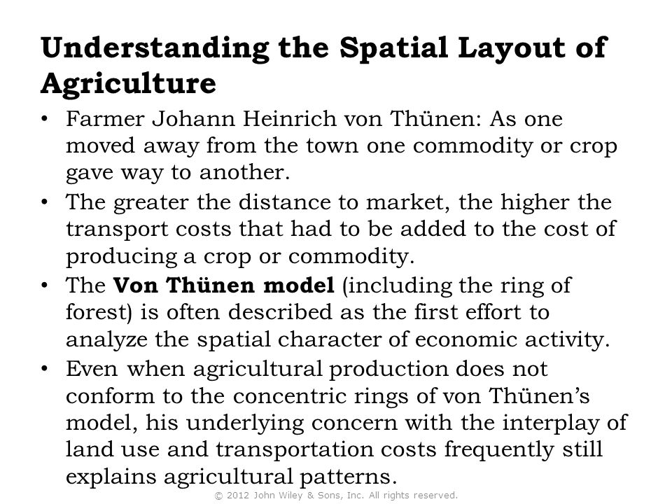 Understanding the Spatial Layout of Agriculture
