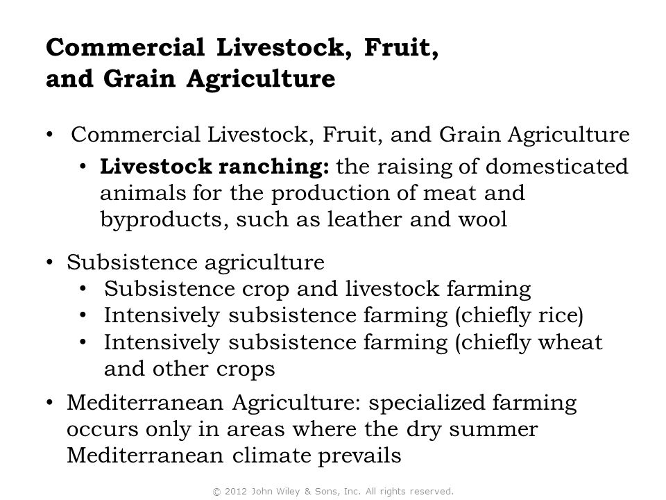 Commercial Livestock, Fruit, and Grain Agriculture