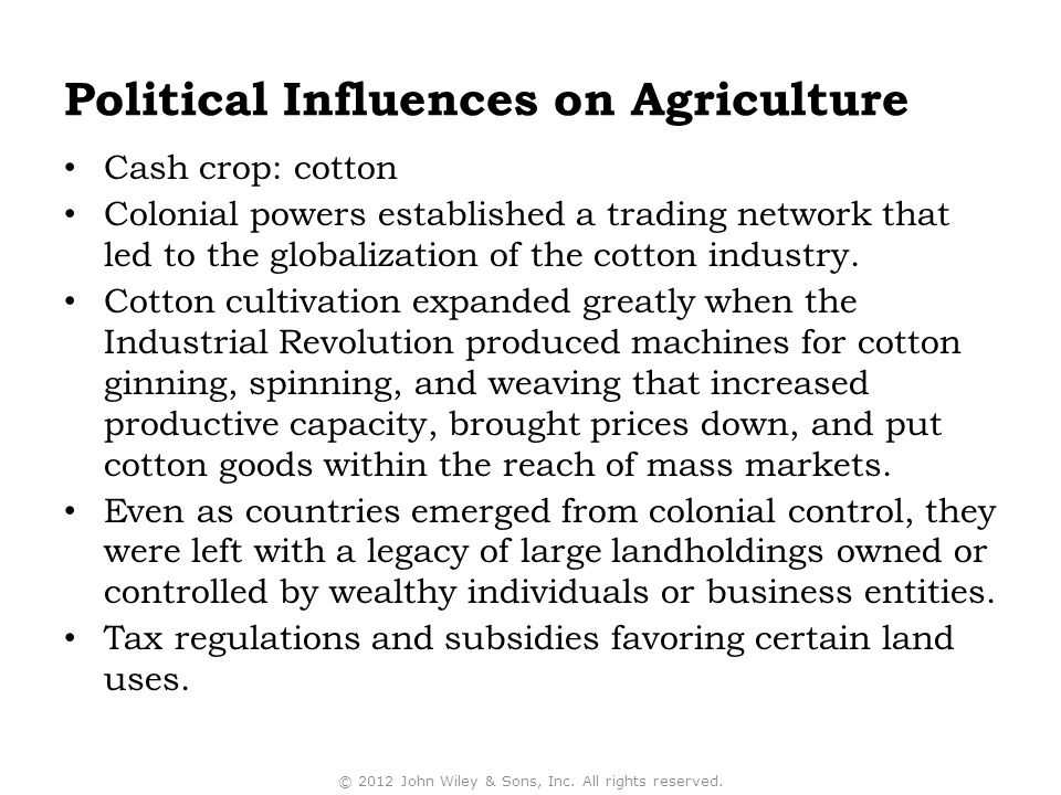 Political Influences on Agriculture