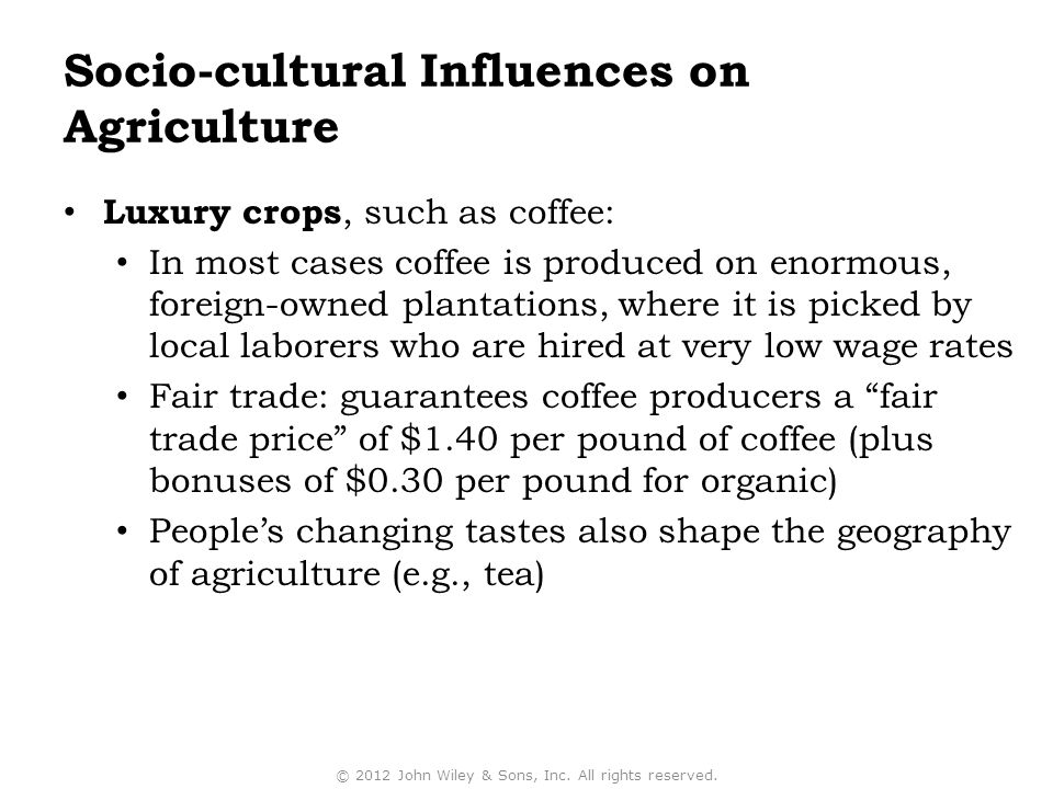 Socio-cultural Influences on Agriculture
