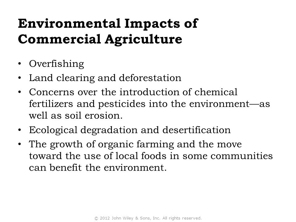 Environmental Impacts of Commercial Agriculture