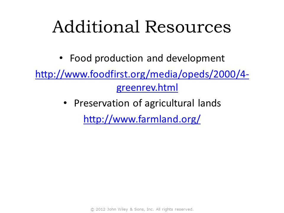 Additional Resources Food production and development