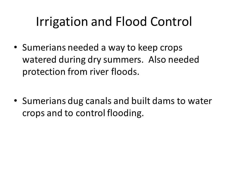 Irrigation and Flood Control