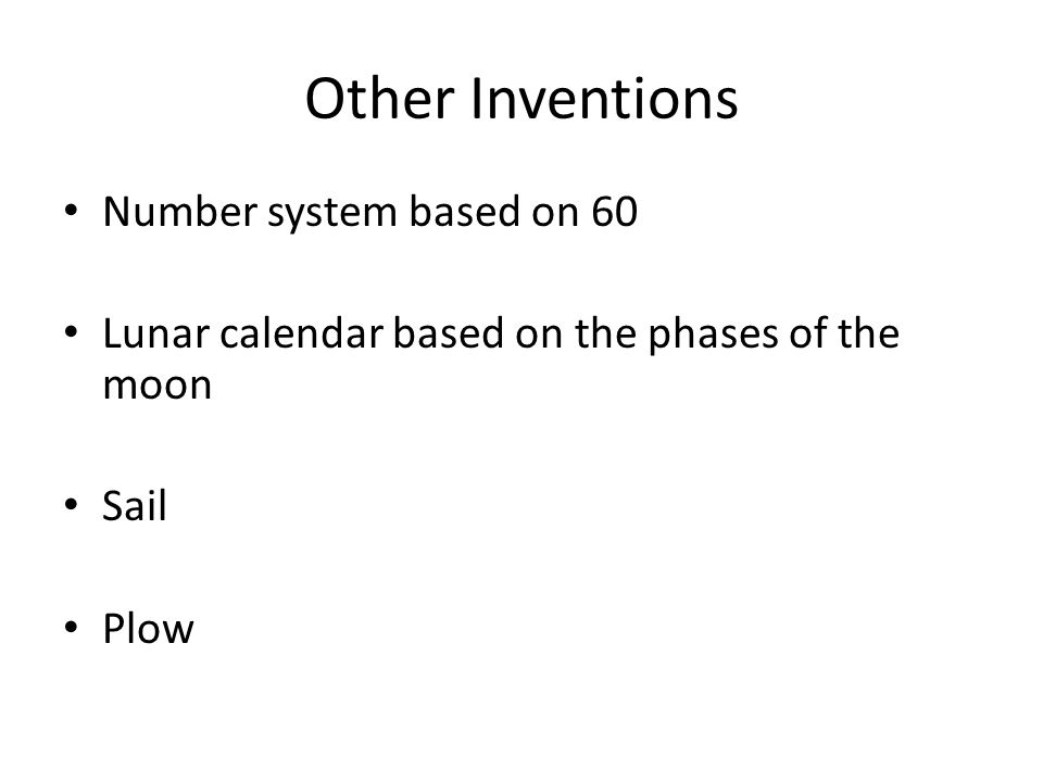 Other Inventions Number system based on 60