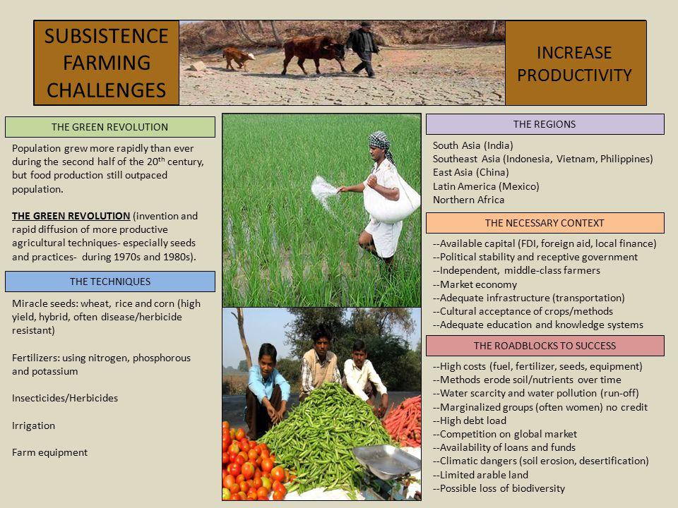 SUBSISTENCEFARMING CHALLENGES INCREASE PRODUCTIVITY THE REGIONS