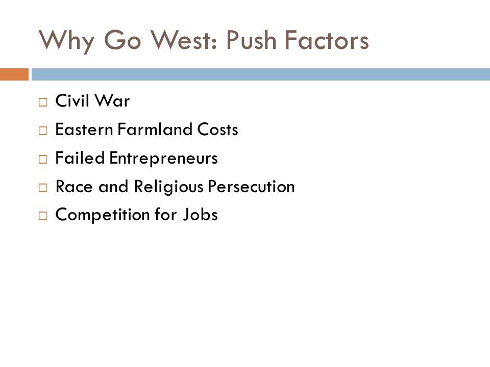 Why Go West: Push Factors