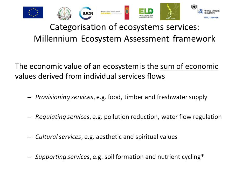 Categorisation of ecosystems services: Millennium Ecosystem Assessment framework