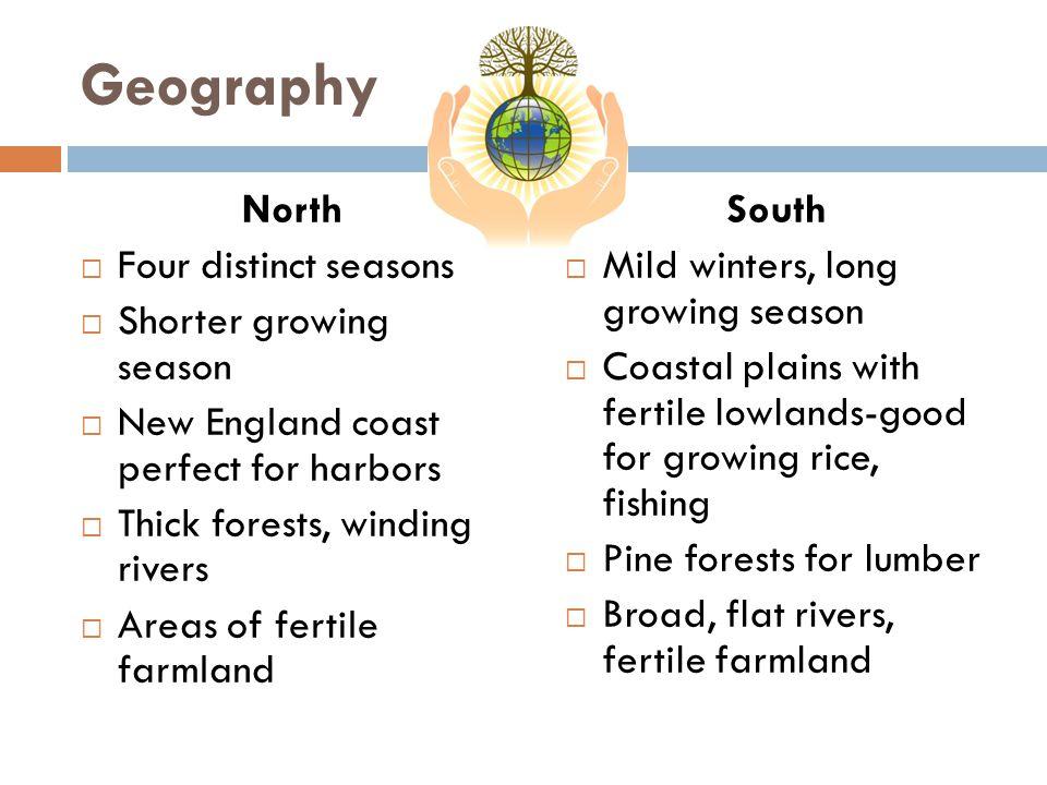Geography North Four distinct seasons Shorter growing season