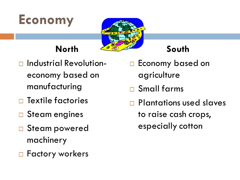 Economy North Industrial Revolution- economy based on manufacturing