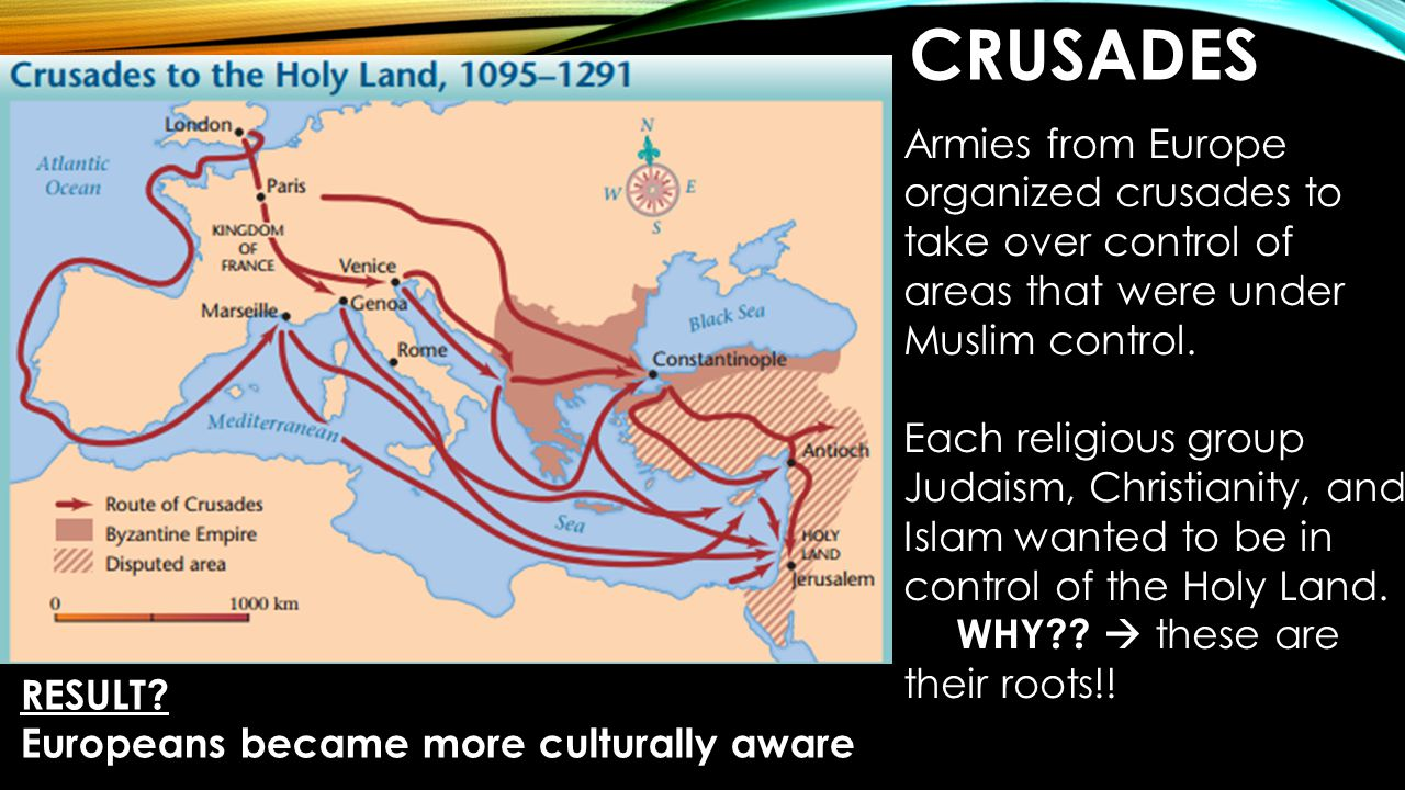 Crusades Armies from Europe organized crusades to take over control of areas that were under Muslim control.