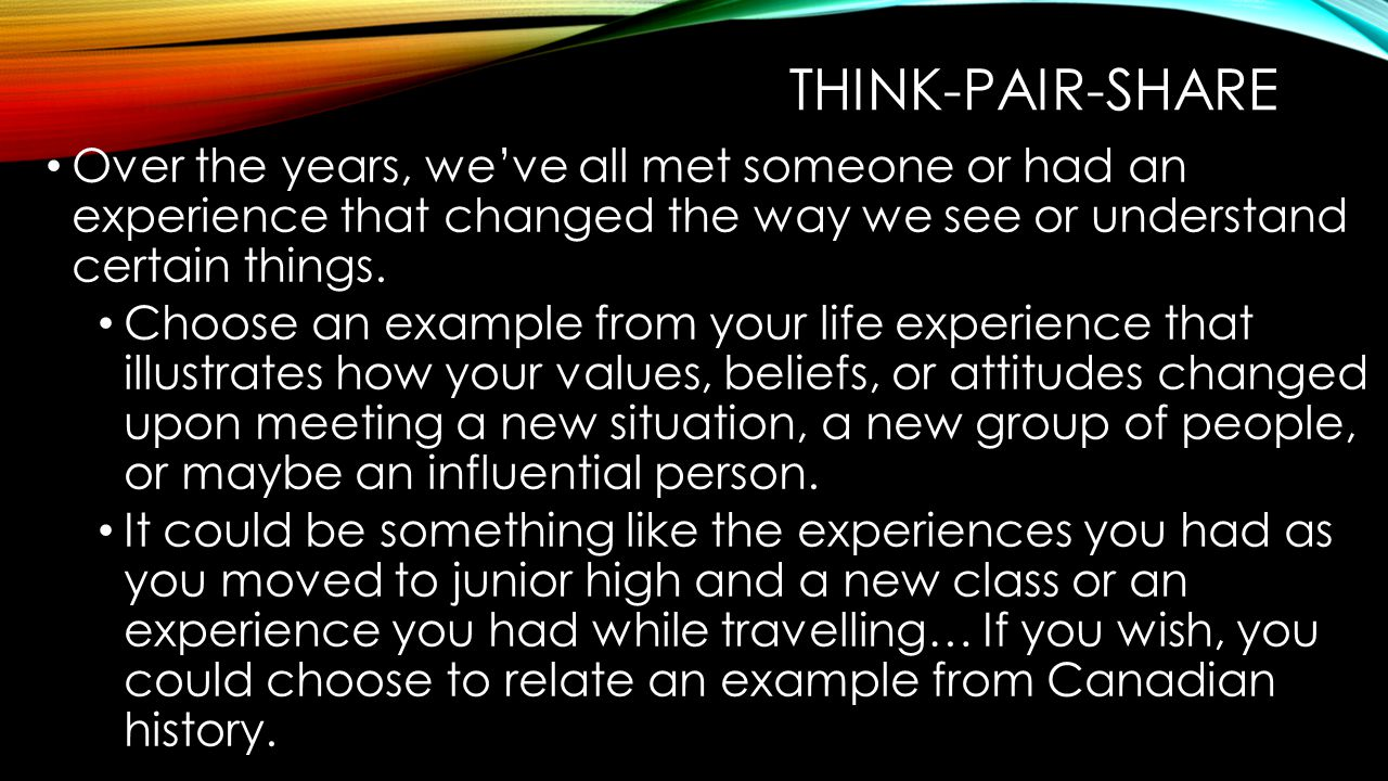 Think-pair-share Over the years, we've all met someone or had an experience that changed the way we see or understand certain things.