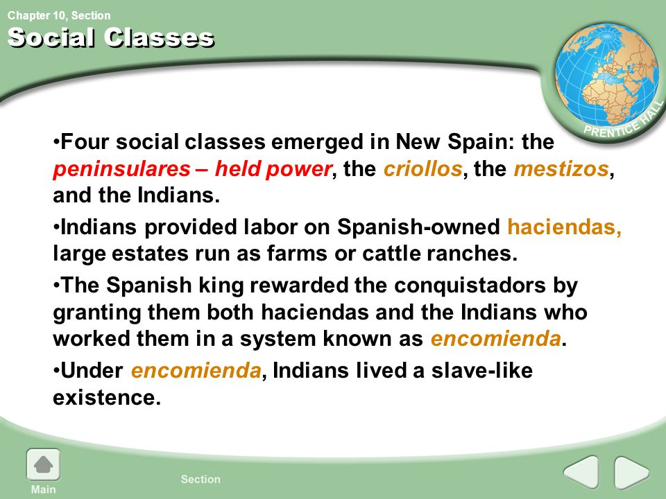 Social Classes Four social classes emerged in New Spain: the peninsulares – held power, the criollos, the mestizos, and the Indians.