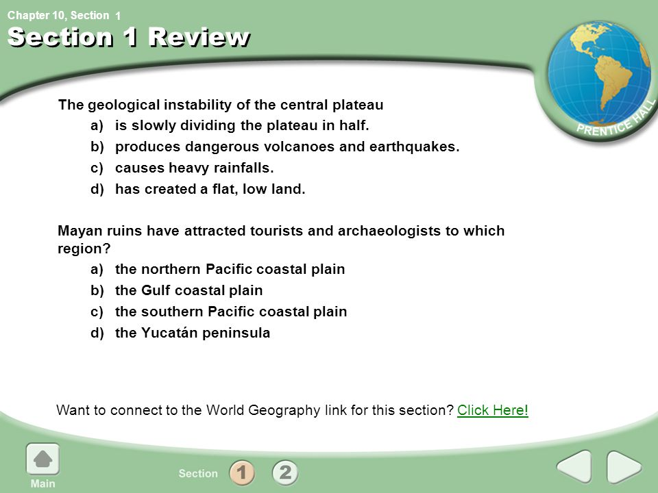 Section 1 Review The geological instability of the central plateau