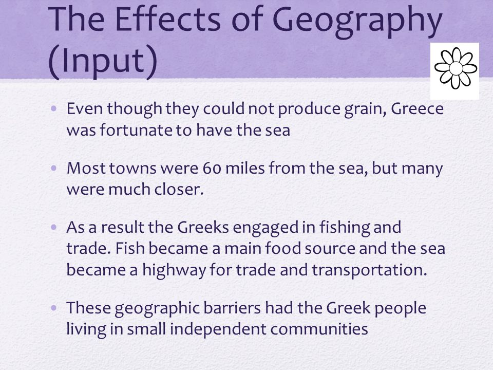 The Effects of Geography (Input)