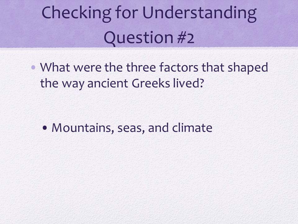 Checking for Understanding Question #2
