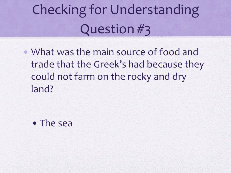 Checking for Understanding Question #3