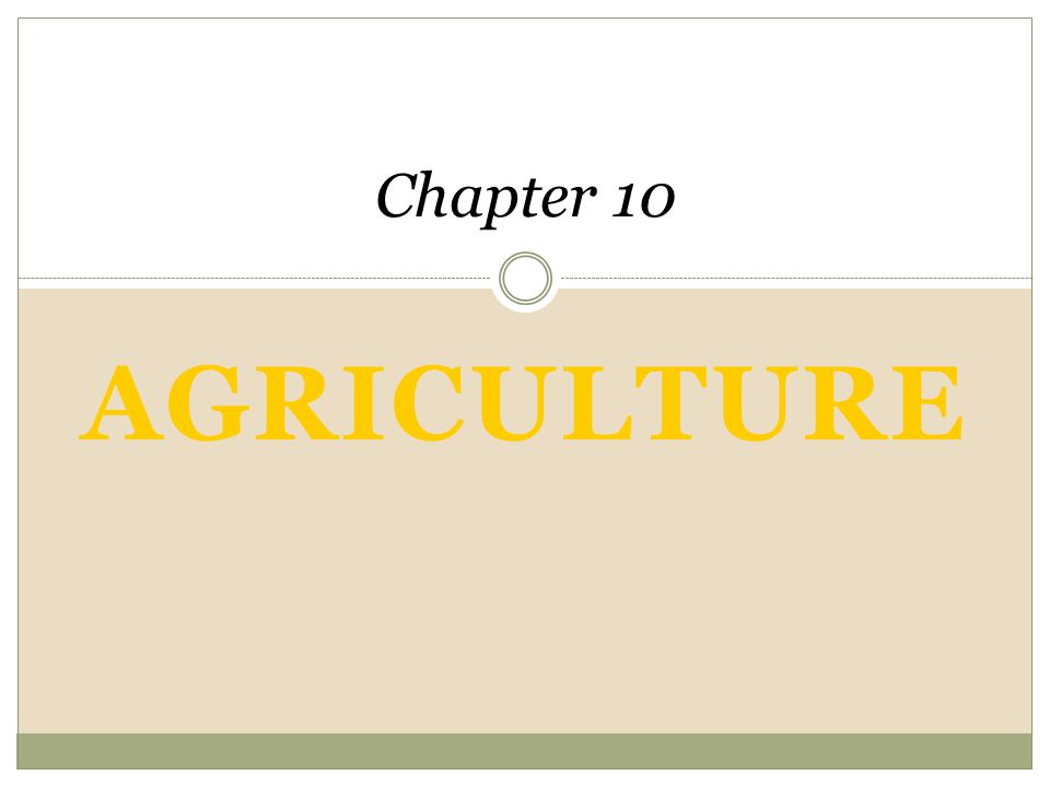 Agriculture Chapter 10 An Introduction to Human Geography