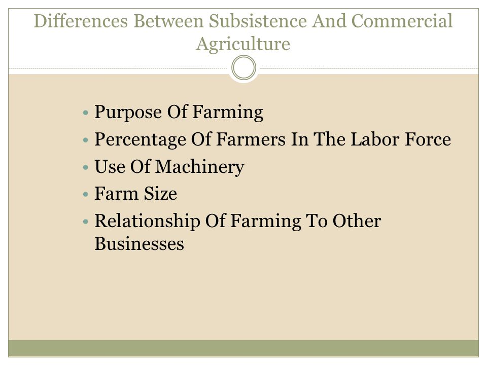 Differences Between Subsistence And Commercial Agriculture
