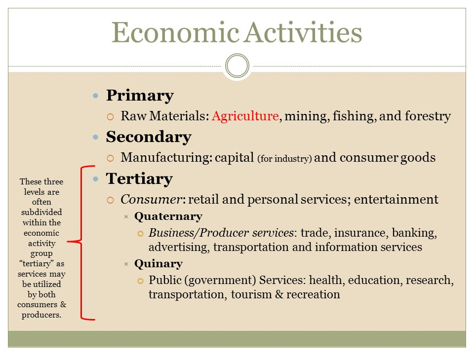 Economic Activities Primary Secondary Tertiary
