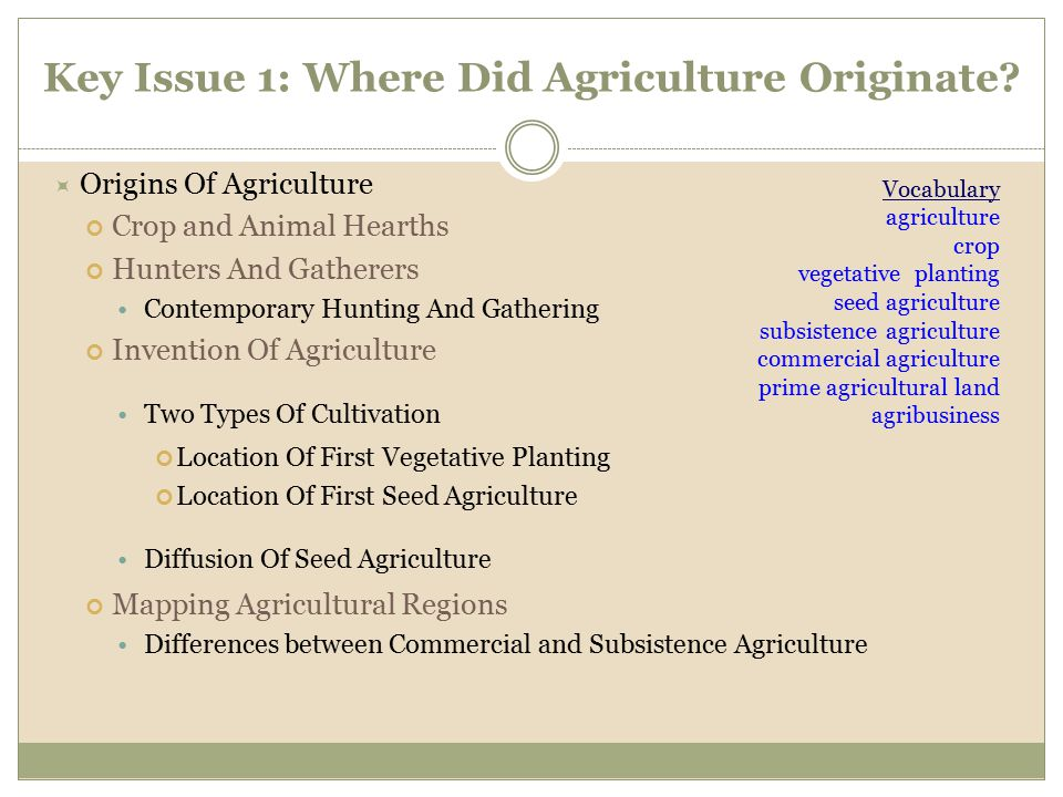 Key Issue 1: Where Did Agriculture Originate