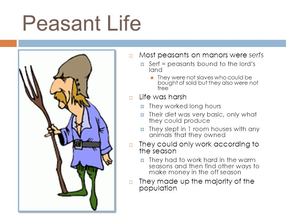 Peasant Life Most peasants on manors were serfs Life was harsh