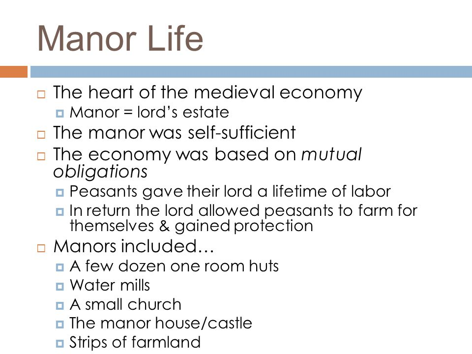 Manor Life The heart of the medieval economy