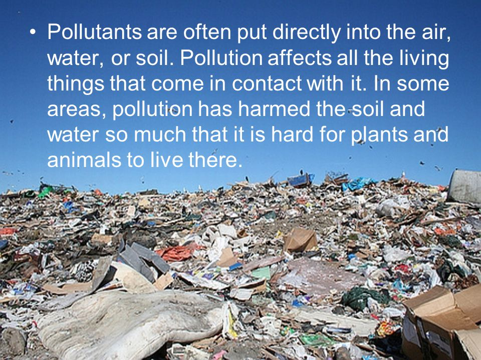 Pollutants are often put directly into the air, water, or soil