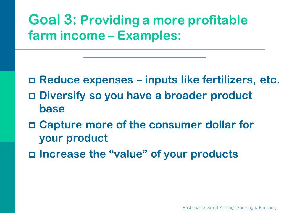 Goal 3: Providing a more profitable farm income – Examples: