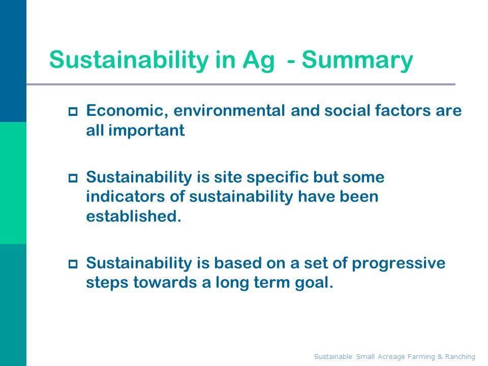 Sustainability in Ag - Summary