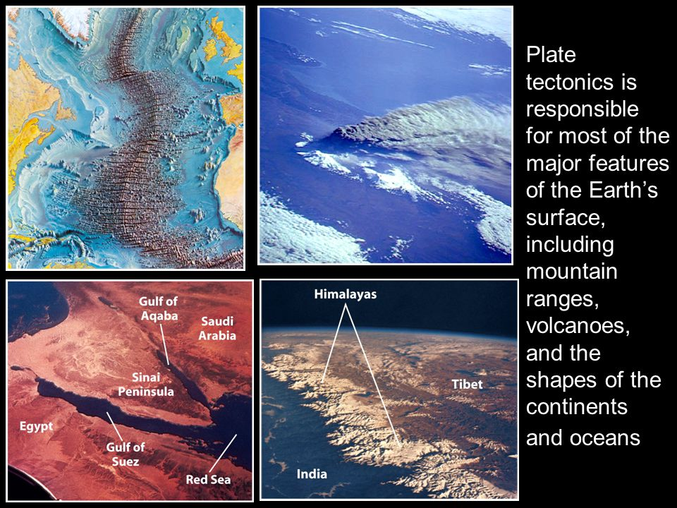 Plate tectonics is responsible for most of the major features of the Earth's surface, including mountain ranges, volcanoes, and the shapes of the continents and oceans