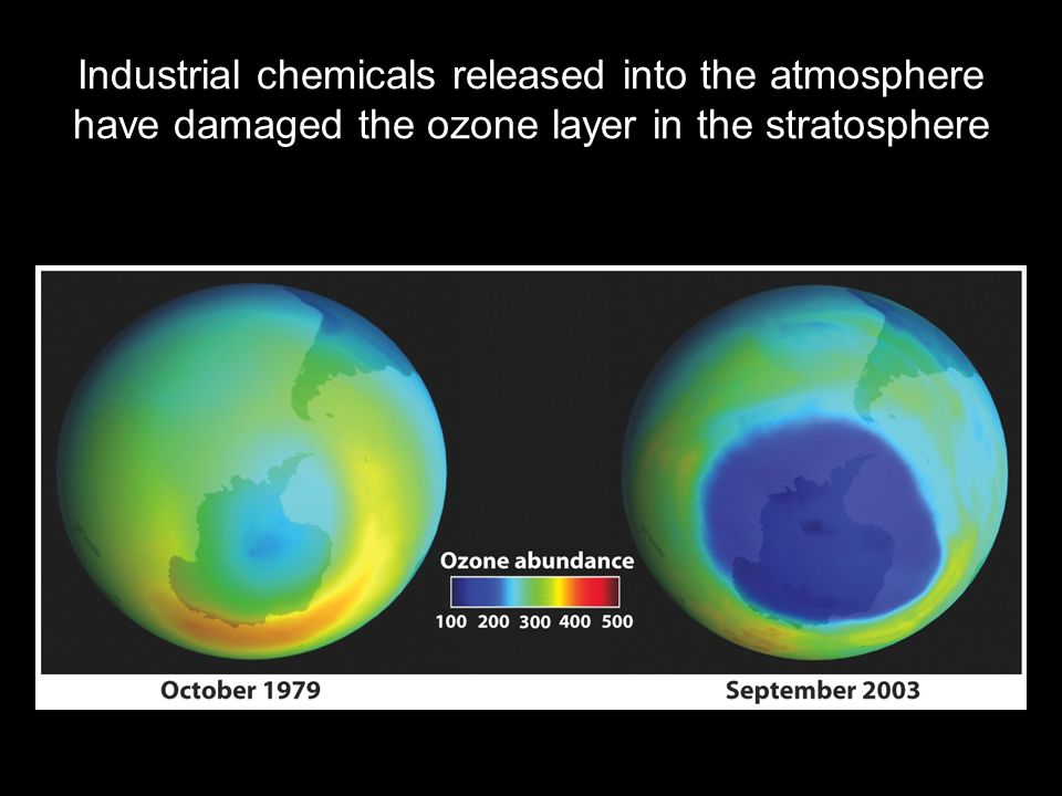 Industrial chemicals released into the atmosphere have damaged the ozone layer in the stratosphere