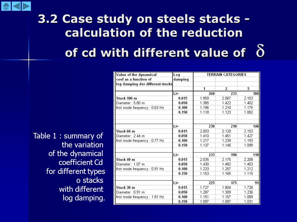 3.2 Case study on steels stacks -calculation of the reduction of cd with different value of 