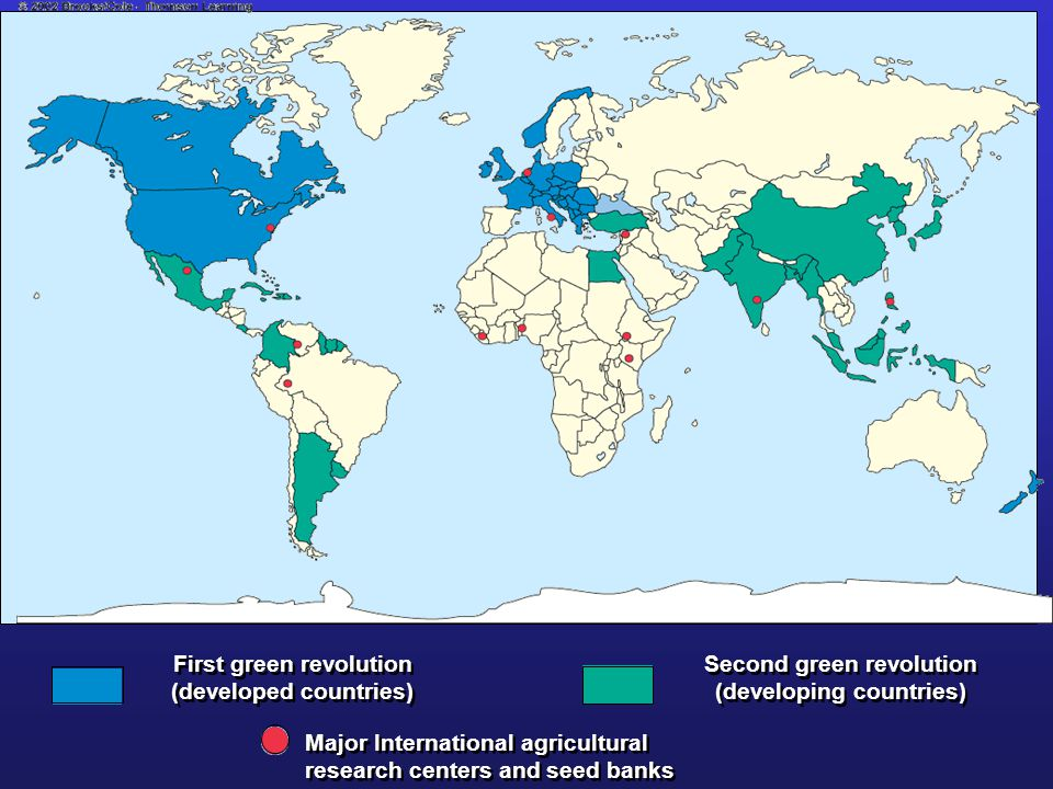 First green revolution (developed countries) Second green revolution