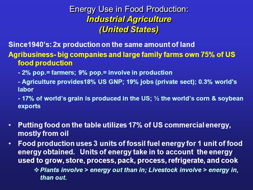 Energy Use in Food Production: Industrial Agriculture (United States)