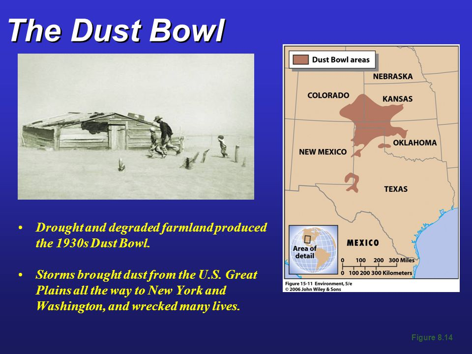 The Dust Bowl Drought and degraded farmland produced the 1930s Dust Bowl.