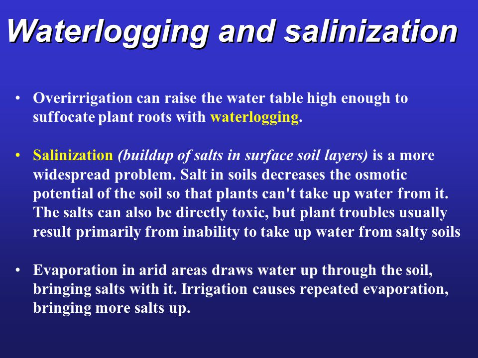 Waterlogging and salinization