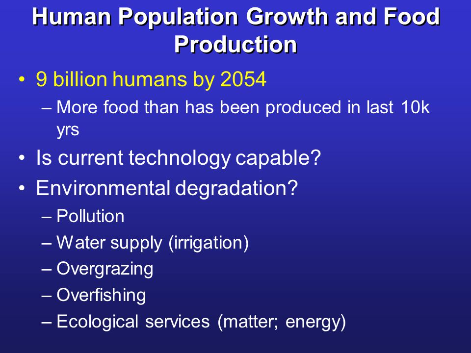 Human Population Growth and Food Production