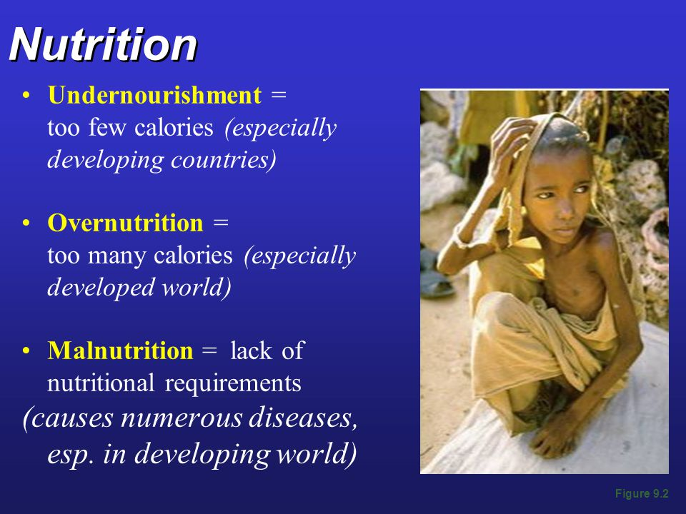 Nutrition (causes numerous diseases, esp. in developing world)